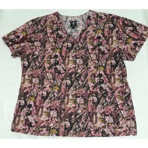 Med Couture Pink Tree 3d Camo Scrub Top Shirt M